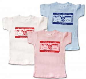 """Personalized short-sleeve """"Special Delivery"""" t-shirts for baby. 100% cotton. Boys and girls. Choice of pink, blue or white. Our most customized item."""