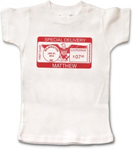 "White, personalized short-sleeve ""Special Delivery"" t-shirt for baby boys and girls. 100% cotton. Our most customized item."