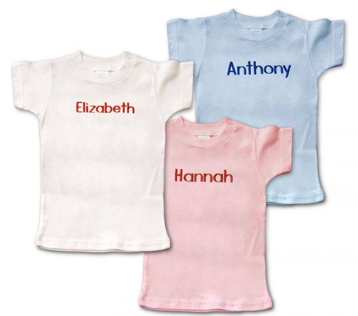 Personalized, monogrammed short-sleeve t-shirts for baby. Boys and girls. Blue, pink or white to choose from.