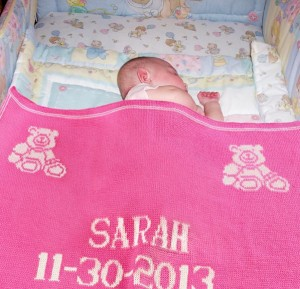 baby sarah with personalized baby blanket christmas present