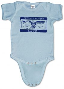"Blue, personalized, ""Special Delivery"" baby onesies (creepers) for boys."