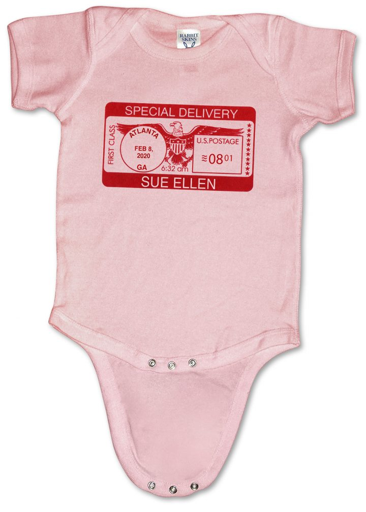 "Pink, personalized, ""Special Delivery"" baby onesies (creepers) for girls."