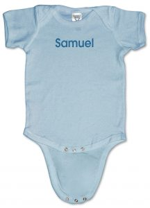 Blue, personalized, monogrammed baby onesies (creepers) for boys.