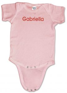 Pink, personalized, monogrammed baby onesies (creepers) for girls.