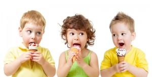 Three kids not eating healthy food