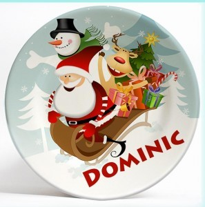 Santa and Friends personalized Christmas dinner plate