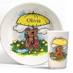 Children/baby, melamine cup (tumbler) and dinner plate set with Rainy Bear design