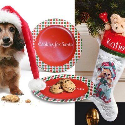 Christmas in July Special! Personalized Christmas stocking with free Santa Plate and FREE shipping!
