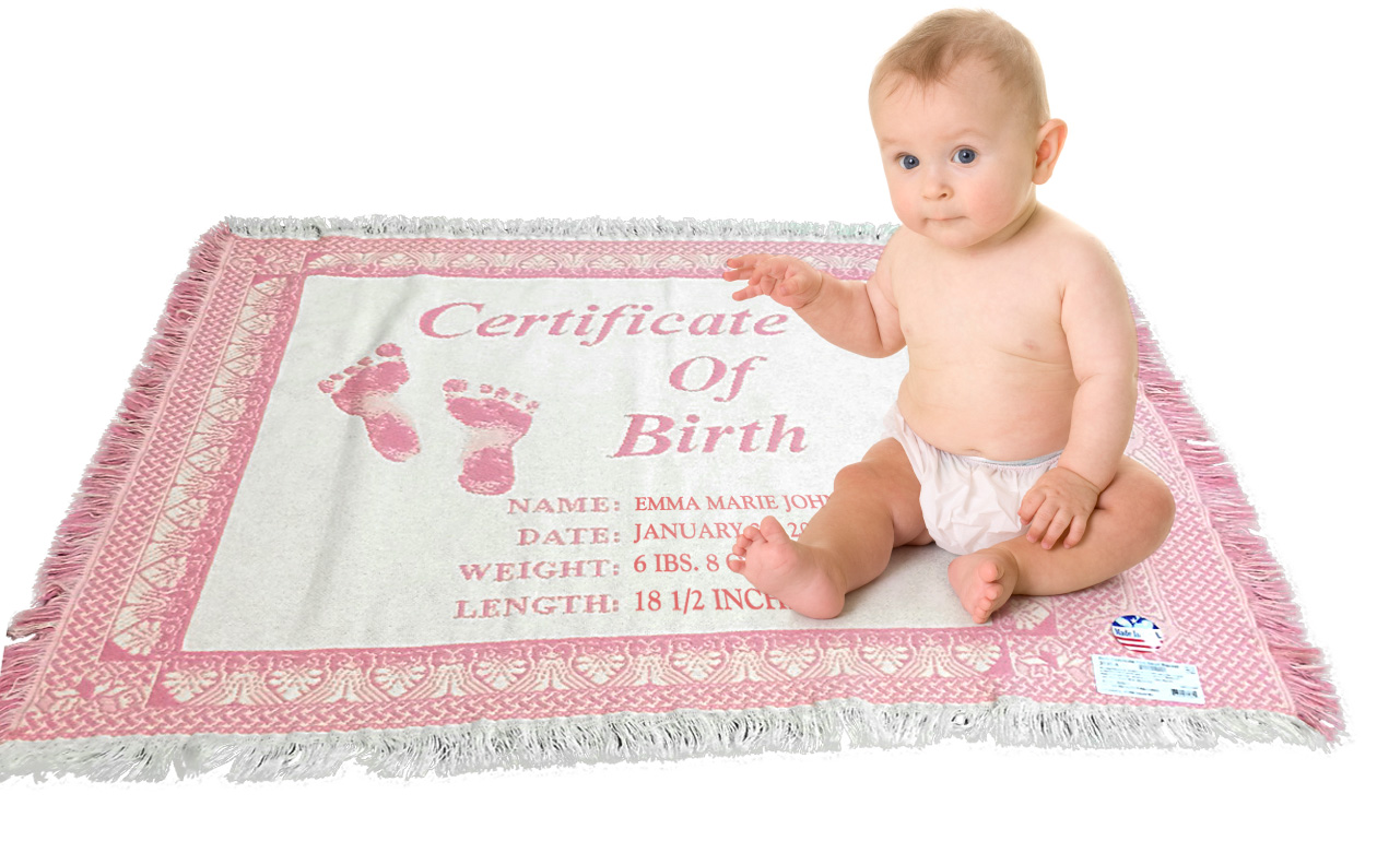 Pink Certificate of Birth baby blanket