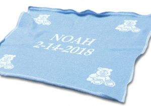 Personalized baby blankets. Blue for boys and pink for girls.