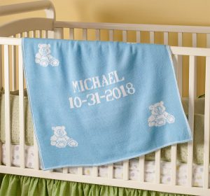 Personalized baby blankets. Blue for boys