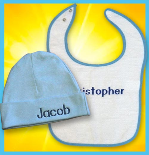 Personalized baby hat and bib summer special - blue