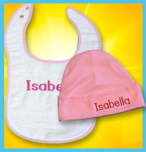 Personalized baby hat and bib summer special - pink