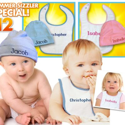 Baby hat and bib summer special - choice of blue or pink