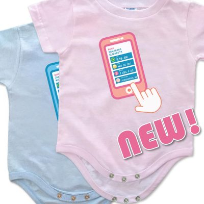 "White, blue and pink personalized, ""Contact List"" onesies for baby boys and girls."