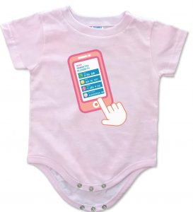"""White, blue and pink personalized, """"Contact List"""" onesies for baby boys and girls."""