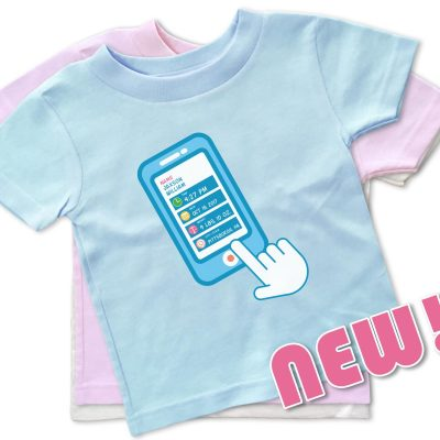 "White, blue and pink personalized, ""Contact List"" baby t-shirts for baby boys and girls."