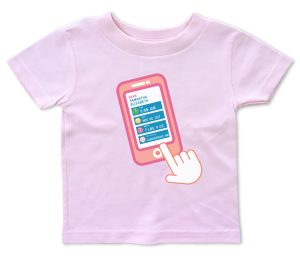 "Pink personalized, ""Contact List"" baby t-shirts for baby boys and girls."