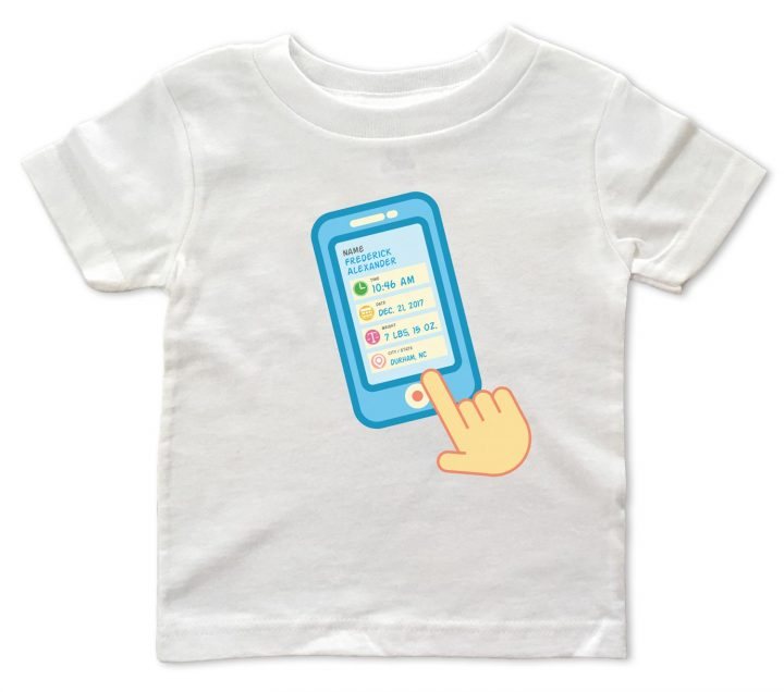 "White personalized, ""Contact List"" baby t-shirts for baby boys and girls."