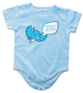 "Blue personalized, ""Twidder Bird"" onesie for baby boys and girls"