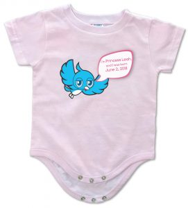 "personalized, ""Twidder Bird"" onesie for baby boys and girls. 100% cotton. great gift idea."