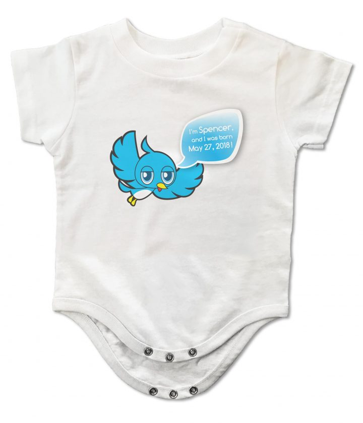 "White personalized, ""Twidder Bird"" onesie for baby boys and girls"