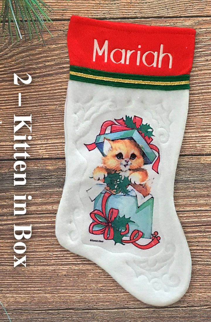 Kitten in Box personalized vintage Christmas stockings