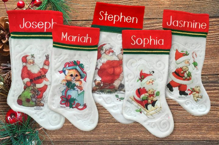 Our personalized vintage Christmas stockings – keepsakes cherished for decades to come.