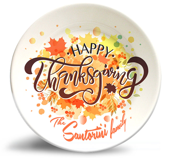 Thanksgiving Splash! plate personalized with family name