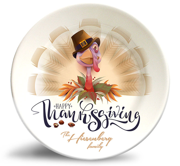 Happy Thanksgiving personalized decorative melamine plate