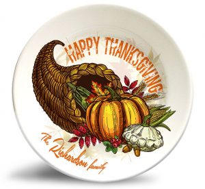 Thanksgiving Cornucopia plate personalized with family name