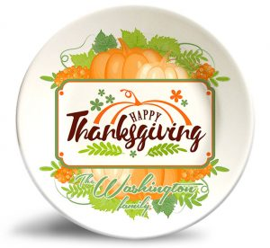 Thanksgiving Pumpkin plate personalized with family name