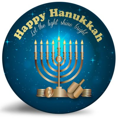 Happy Hanukkah personalized decorative plate. Beautiful wall or fireplace decor.
