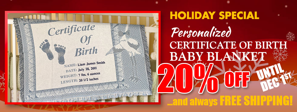 Christmas special - 20% our personalized baby blanket and FREE shipping