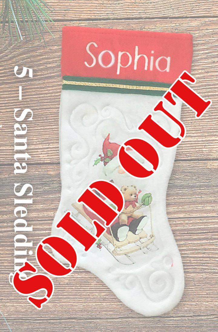 Santa Sledding personalized vintage Christmas stockings
