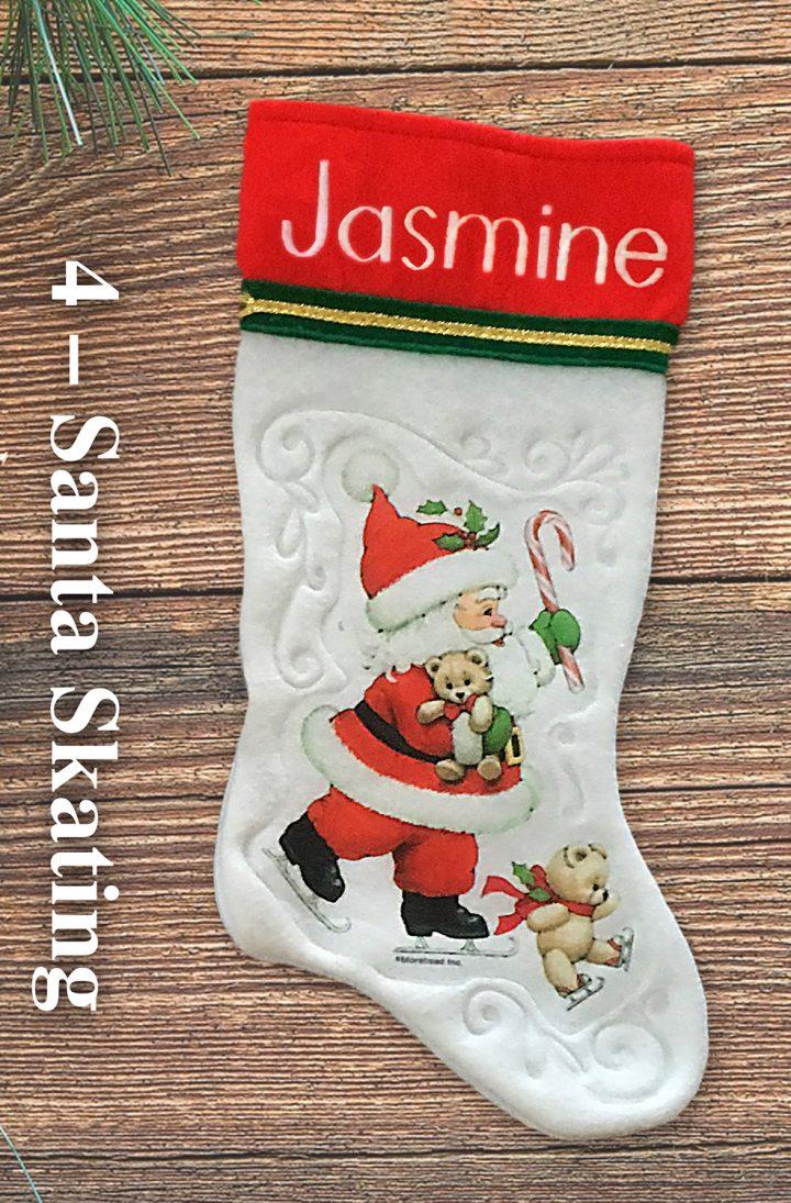 Santa Skating personalized vintage Christmas stockings