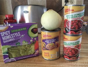ingredients for cheap, healthy mexican bean dip