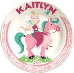 Princess girl on horse at Personalized Kids Plates.com