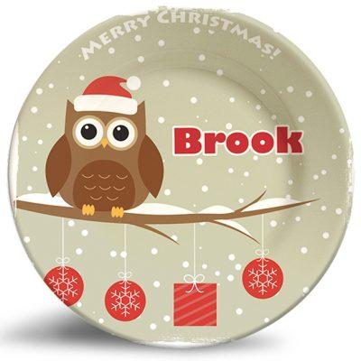Christmas Owl, personalized decorative plates