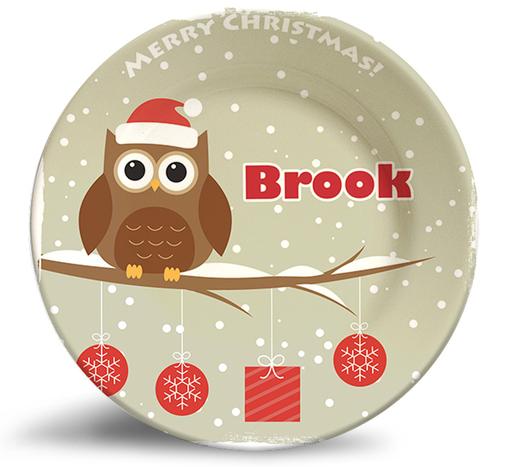 Christmas Owl, personalized decorative plates