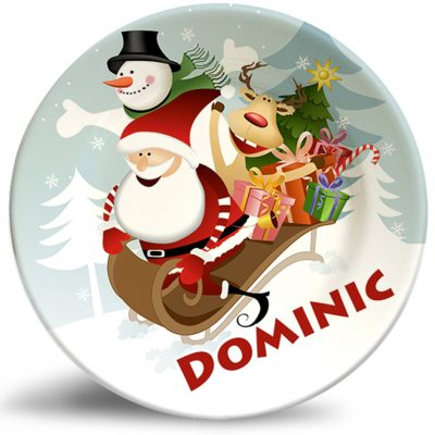 Santa sledding with friends. Xmas personalized decorative plate