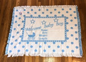 Personalized knit Welcome Baby blanket. Blue