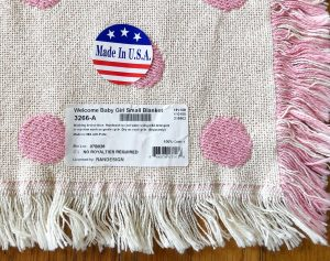 Personalized knit Welcome Baby blanket. Pink