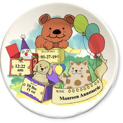 Vintage bear art, personalized decorative dinner plates