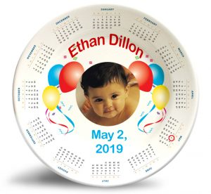 """Our """"Birthday Calendar Photo Plate"""" is our most personalized plate to date."""