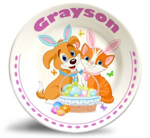 Cute dog and cat Ester dinner plate.