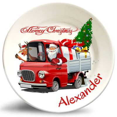 Santa in truck Xmas personalized decorative plate