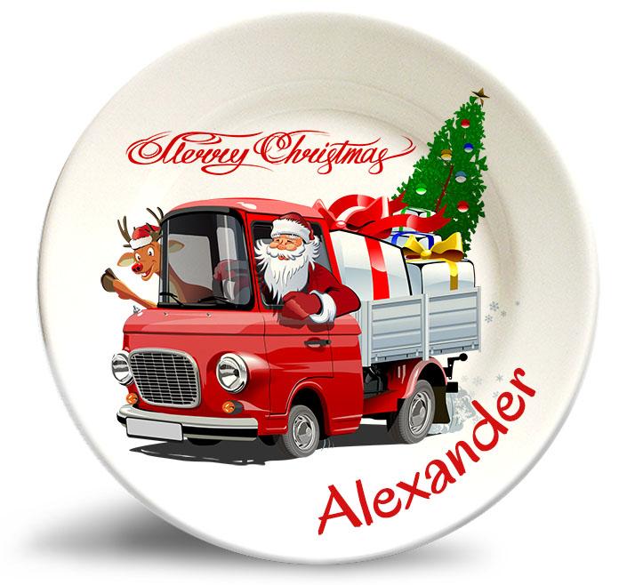 Santa in truck Xmas personalized decorative plate
