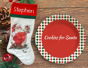 Personalized Christmas stocking and plate special