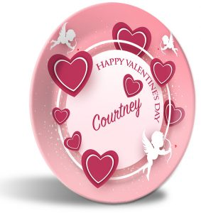 Unique Valentine's Day present. Personalized decorative melamine plate